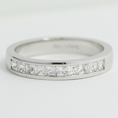 L93922 3 3mm Channel Set Princess Cut Diamonds Wedding Band 14k White Gold