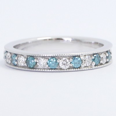 3.3mm Milgrained Blue and White Diamonds Wedding Band 14k White Gold