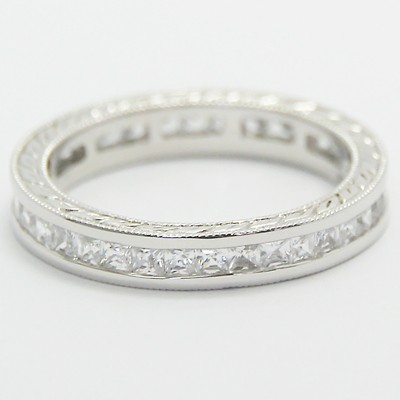 3.4mm Channel Set Princess Cuts Hand Engraved Eternity Diamond Ring 14k White Gold