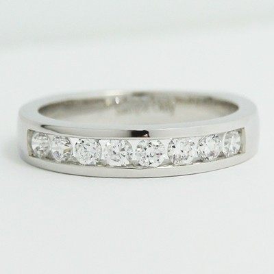 3.7mm Channel Set European Wedding Band 14k White Gold