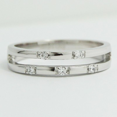 4.0-4.5mm Split Wedding Band 14k White Gold L93833