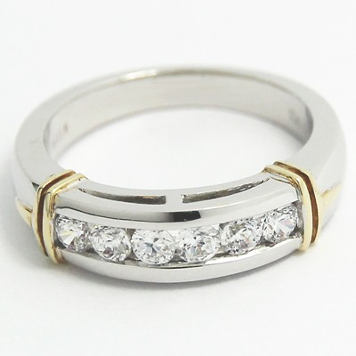 4.0-5.3mm Side Channel Set Wedding Band 14k White & Yellow