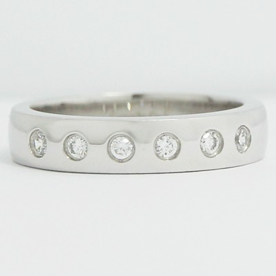 4.0mm Bezel Set Side Diamonds Wedding Band 14k White Gold