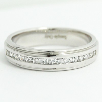 4.6mm Double Groove Channel Set Band 14k White Gold