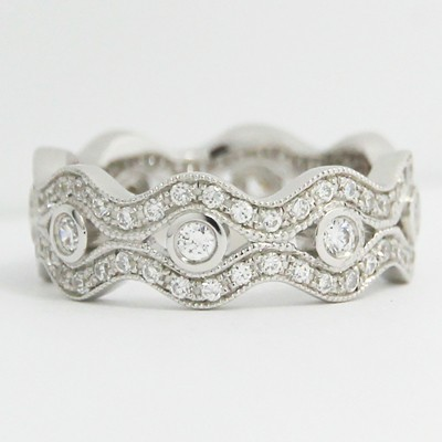 4.75-7.20mm Pave Set in Wave Style Eternity Wedding Band 14k White Gold L3614