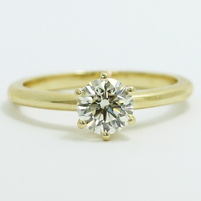 6 Prong Solitaire Engagement Ring 14k Yellow Gold MER-P01