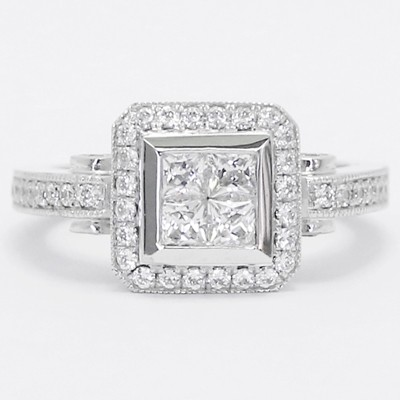 Antic Accent Diamond Halo Engagement Ring 14k White Gold