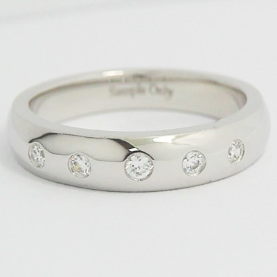 Bezel Set Side Diamonds Wedding Band 14k White Gold