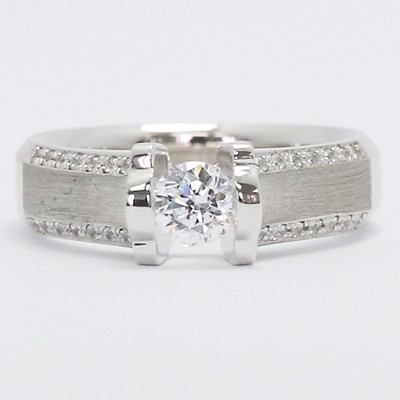 Brushed Center Tension Diamond Engagement Ring 14k White Gold