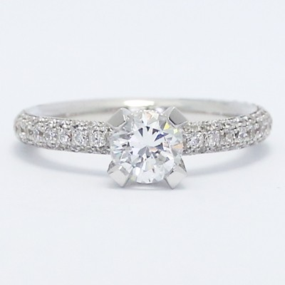 Cathedral Pave Set Diamond Engagement Ring 14k White Gold