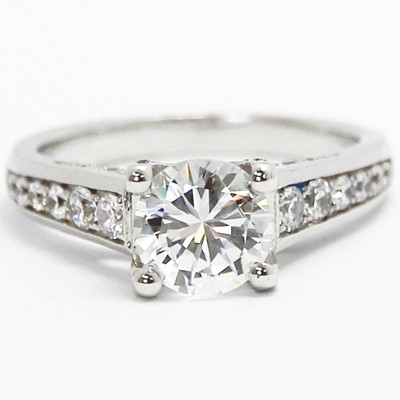 Channel Set Diamond Ring with Pave Accents 14k White Gold