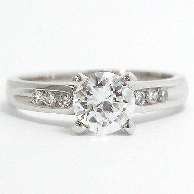 Channel Set Engagement Ring 14k White Gold