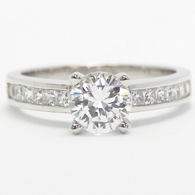 Channel Set Princess Cut Diamond Engagement Ring 14k White Gold