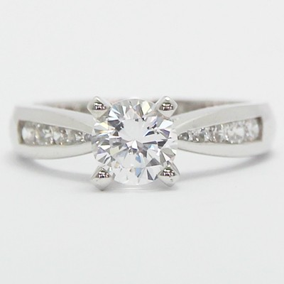 Channel Set Tapered Engagement Ring 14k White Gold