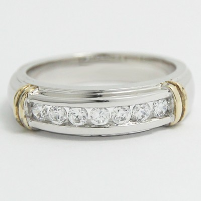 4.4-5.4mm Channel Set Wedding Band 14k White and Yellow Gold