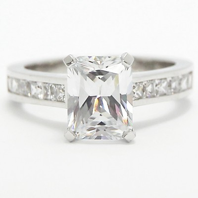 Channel Setting Radiant Cut Diamond Ring 14k White Gold