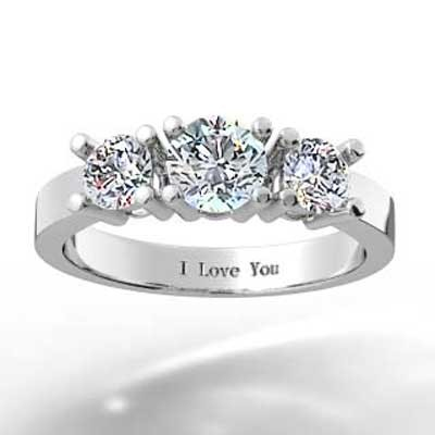 Classic Round Brilliant Cut 3 Stone Engagement Setting 14k White Gold