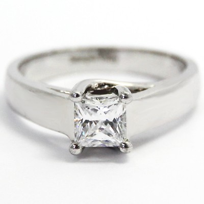 Cross Prong Diamond Setting 14k White Gold