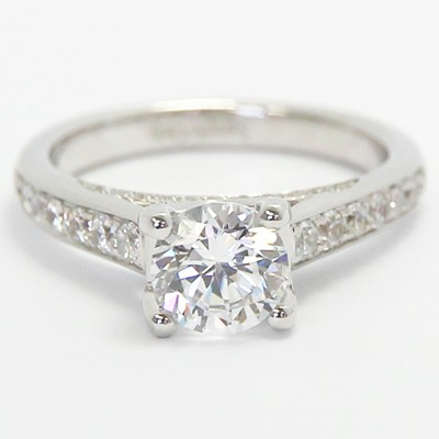 Crown Diamonds Engagement Ring 14k White Gold