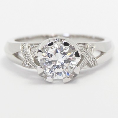 Crown Vintage Style Engagement Ring 14k White Gold