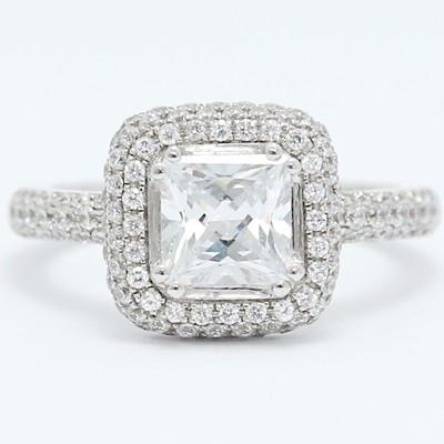 Cushion Shaped Halo for Princess Cut Diamond 14k White Gold