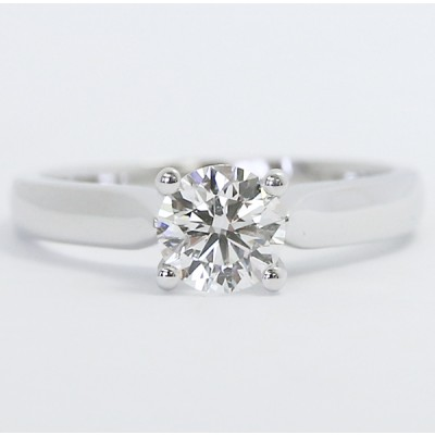 Custom Solitaire Diamond Engagement Ring 14k White Gold