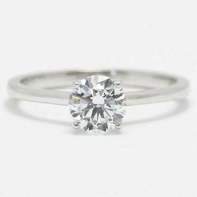 Designed Solitaire Setting Engagement Ring 14k White Gold