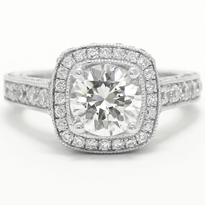 Designer Hand Engraved Engagement Ring 14k White Gold