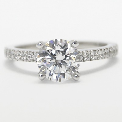Designer Inspired Classic Setting 14k White Gold