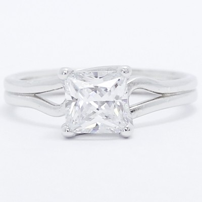 Double Band Solitaire Style Engagement Ring 14k White Gold