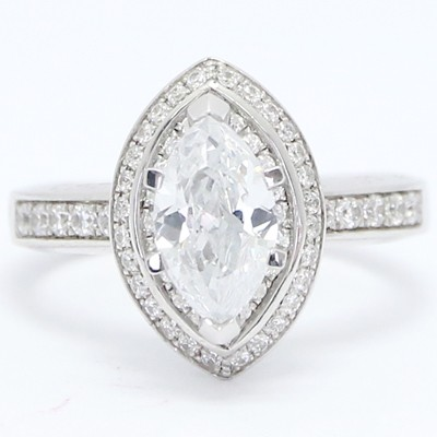 Double Halo Marquise Diamond Engagement Ring 14k White Gold