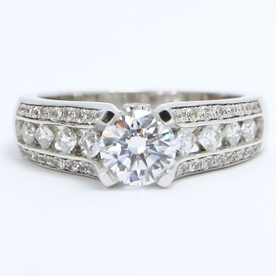 E93864 Vintage Mix Diamonds Engagement Ring 14k White Gold