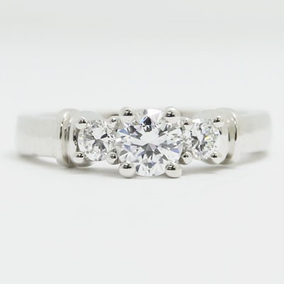 E93301 Three Stone Designed Diamond Engagement Ring 14k White Gold