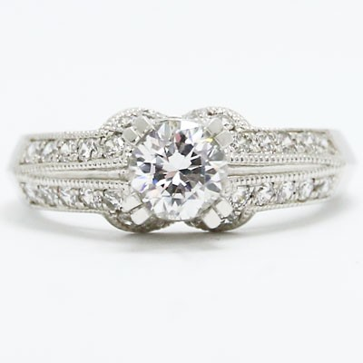 E93319 Milgrained Knife Edge Vintage Diamond Engagement Ring 14k White Gold