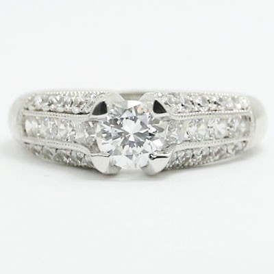 E93356 Three Side Pave Diamonds Engagement Ring 14k White Gold.jpg