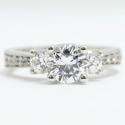 E93451-2 Three Stone Tapered and Milgrained Engagement Ring 14k White Gold