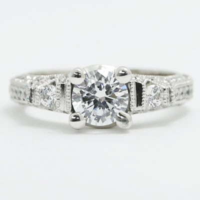 E93525 Vintage Milgrained Pave Diamond Engagement Ring 14k White Gold.jpg