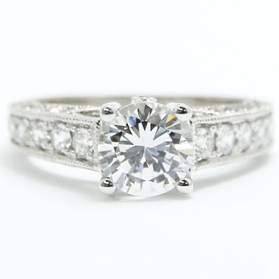 E93527 Milgrain Edges And Accent Diamond Engagement Ring 14k White Gold.jpg