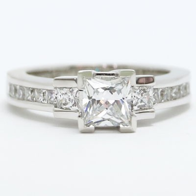 E93563 Three Stone Princess cut Diamond Engagement Ring 14k White Gold