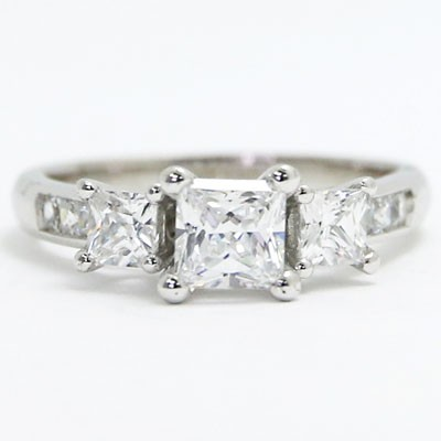 E93605 Three Princess cut Diamond Engagement Ring 14k White Gold