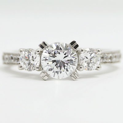E93606-2 Three Stone Milgrain Diamond Engagement Ring 14k White Gold