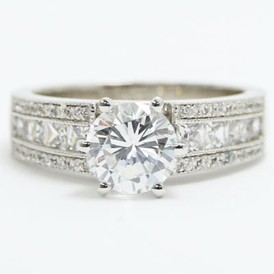 E93629 Mix of Princess and Round Cut Diamonds Engagement Ring 14k White Gold.jpg