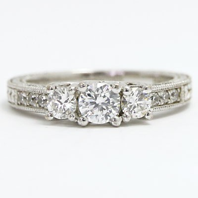 E93696 Three Stone Vintage Style Diamond Engagement Ring 14k White Gold