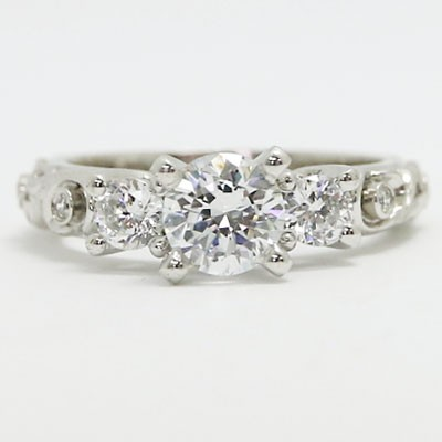 E93722 Vintage Three Stone Diamond Engagement Ring 14k White Gold