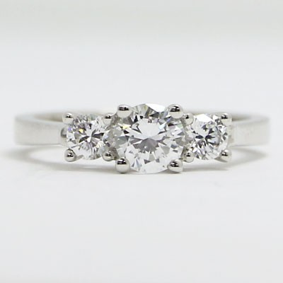 E93850 Three Stone Tapered Diamond Engagement Ring 14k White Gold