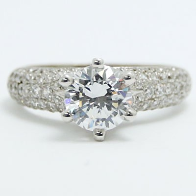 E93944 Tulip Style Pave Set Diamonds Engagement Ring 14k White Gold.jpg