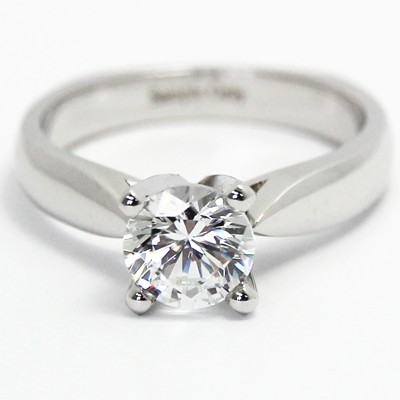 Euro Style Tapered Engagement Ring 14k White Gold