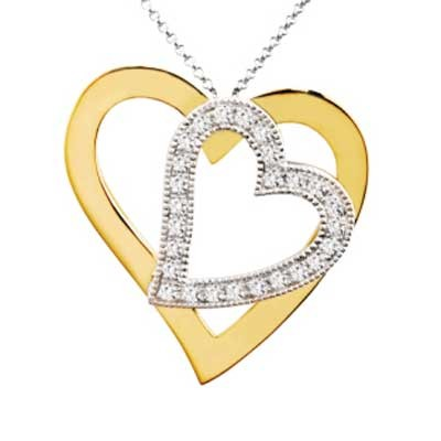 Pendant 14k White & Yellow Gold F9261