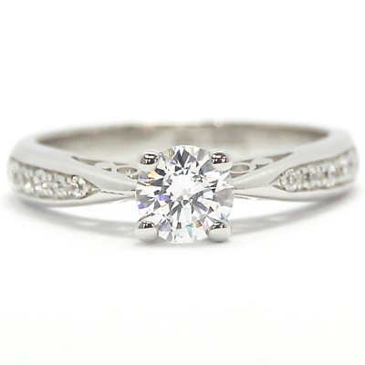 Filigree Design Diamond Accent Engagement Ring 14k White Gold