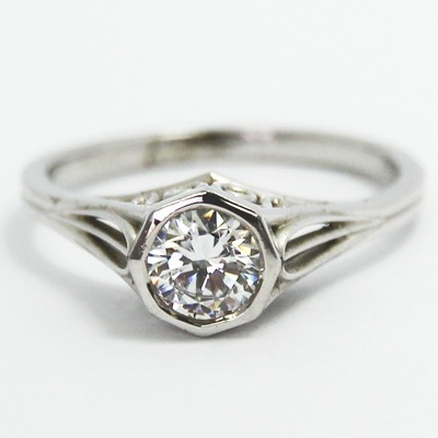 Filigree Solitaire Style Engagement Ring 14k White Gold